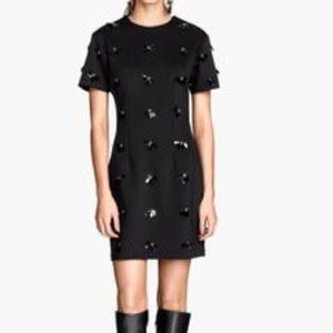 NWT H&M BLACK EMBELLISHED HOLIDAY DRESS SZ US 2